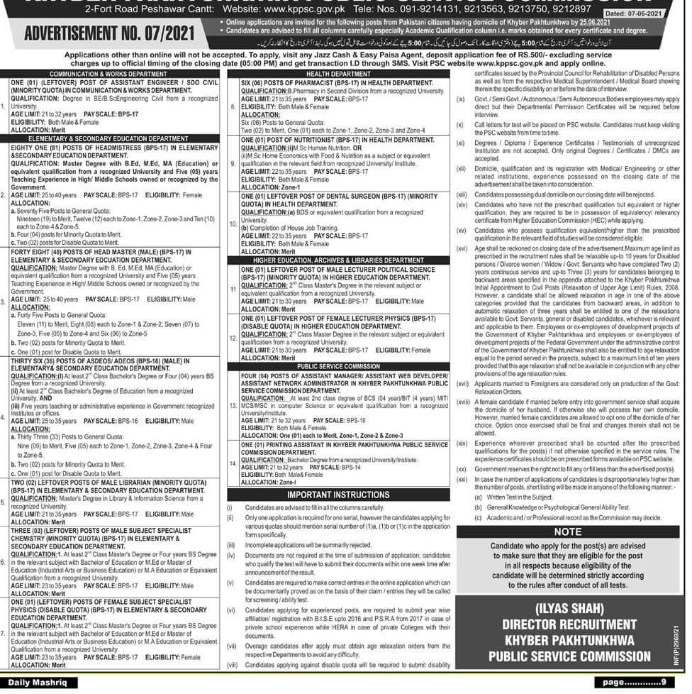 Khyber Pakhtunkhwa Public Service Commission KPPSC Jobs 2021 in Pakistan