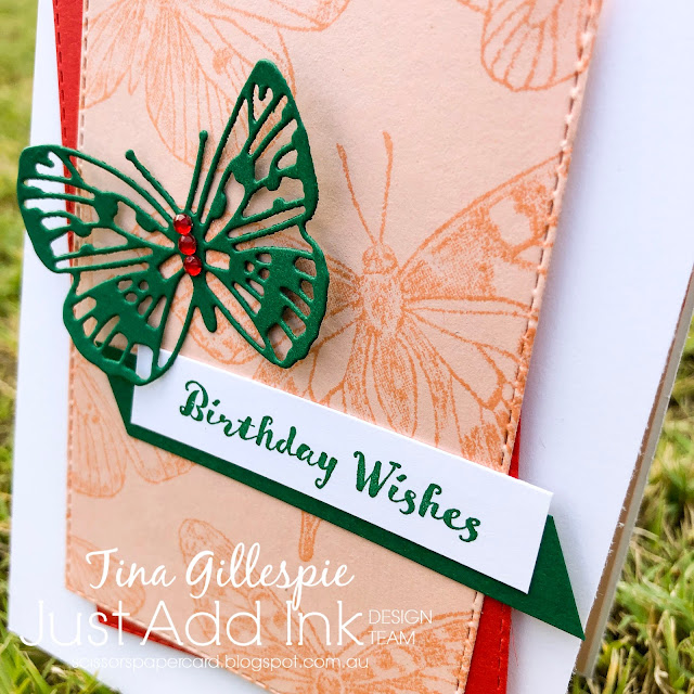 scissorspapercard, Stampin' Up!, Just Add Ink, Butterfly Brilliance, Itty Bitty Birthdays, Brilliant Wings Dies, Stitched Rectangles Dies