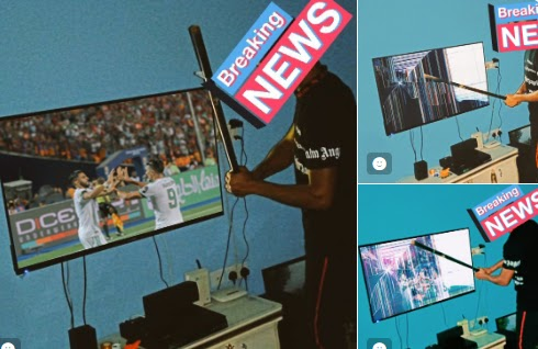 Just In: NIgeria Man Break His Television After the Loss of Nigeria over Algeria