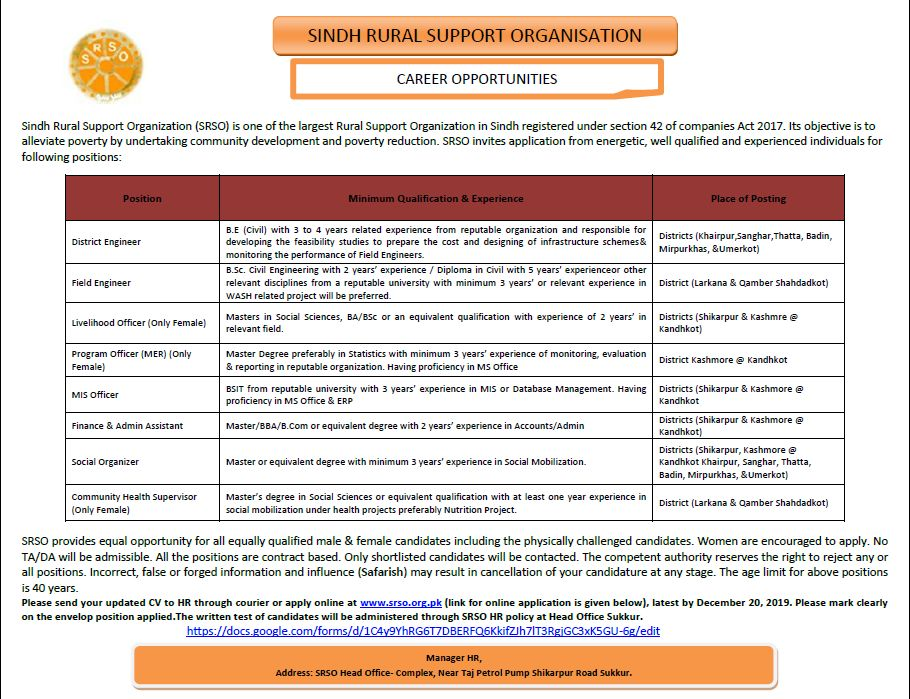Sindh Rural Support Organization (SRSO) Sukkur Jobs 2019 for vacant posts