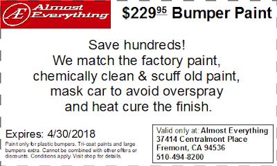 Discount Coupon $229.95 Bumper Paint Sale April 2018