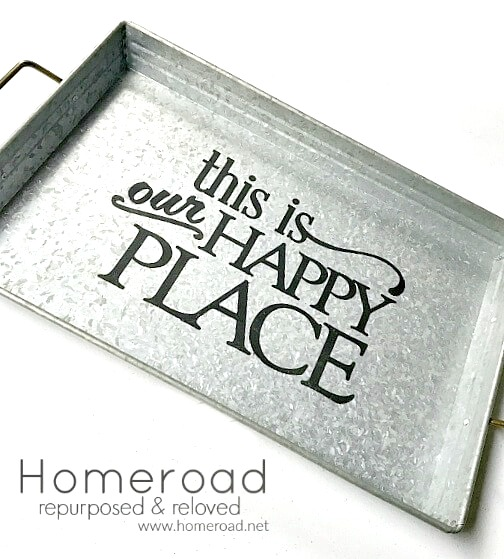 Make a Personalized Galvanized Tray with a Vinyl Stencil for Gift Giving