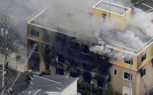 Studio KyoAni yang terbakar.