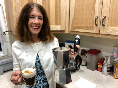 Nancy and her new espresso tools