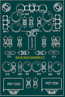 Layout PCB Bass Enchanger Stereo Pengatur Suara Bass