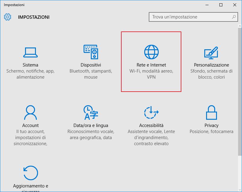 Windows 10: Impostazioni, Rete e Internet