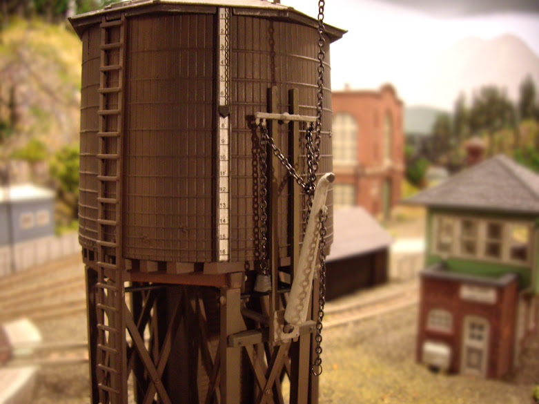 Chain and water spout detail on a completed Atlas Water Tower Kit