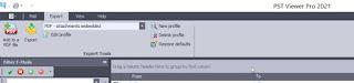 Screen image showing PstViewer Pro export menu.
