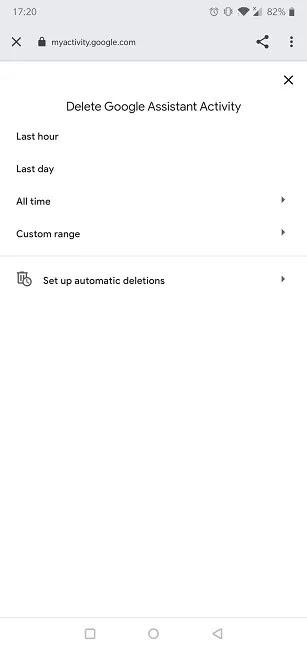 محو Googgle Assistant Voice Commands ، حذف النشاط
