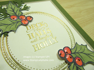 Close-up of the Shimmery Crystal Effects on the Holly berries from the Stampin'UP! Christmas Gleaming stamp set