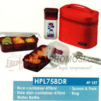 Lock & Lock HPl758DR Lunch Box 3P Set with Red Bag