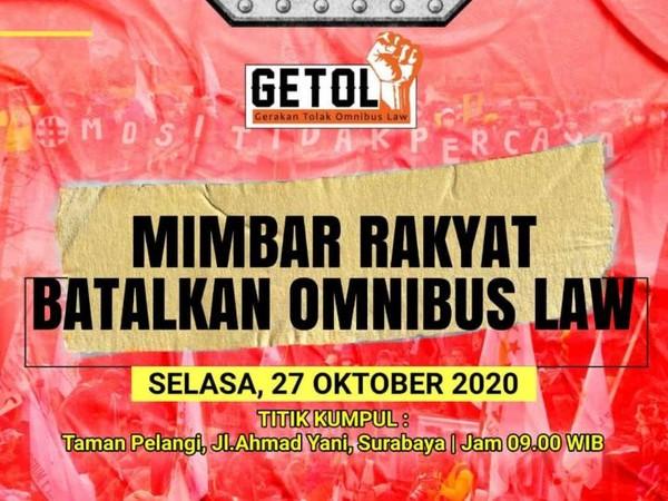 Gerakan Tolak Omnibus Law Jatim Akan Demo Lusa