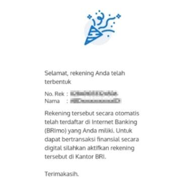 Notifikasi Sukses Membuat Rekening BRI Online