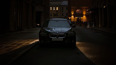 Wallpaper Black BMW Car, City, Night, Buildings
