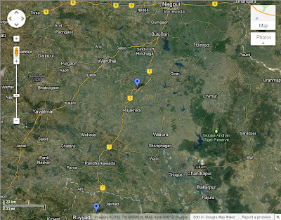 A google map screenshoot of the route taken for the Bangalore - Delhi car drive in April 2009