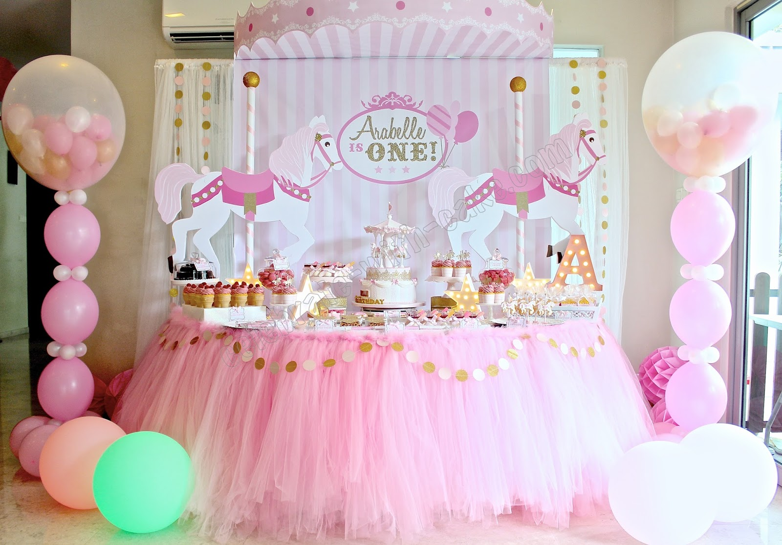 Celebrate with cake carousel themed dessert table click for Baby shower decoration singapore