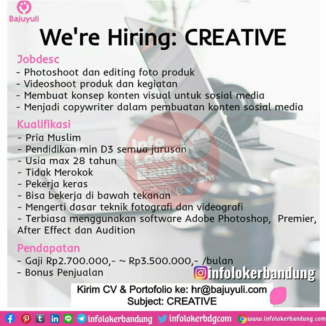 Lowongan Kerja Creative Staff Bajuyuli (PT. Guna Cipta Rekayasa) Bandung Juli 2020