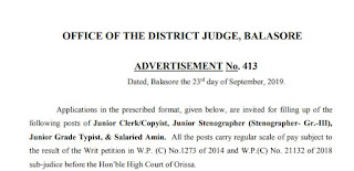 Balasore District Court Junior Clerk/ Copyist Old Question Papers and Syllabus 2019
