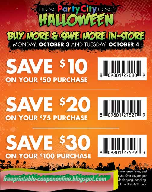 Discount coupons for party city