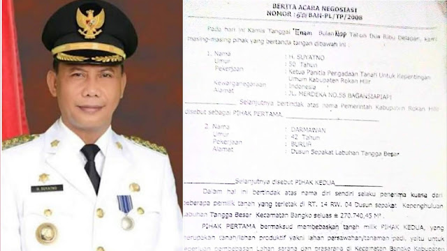 Diduga Bupati Suyatno Terlibat, LSM Minta KPK RI Usut Dugaan Korupsi Pengadaan Lahan Perkantoran Rohil dan APBD 2016-2017