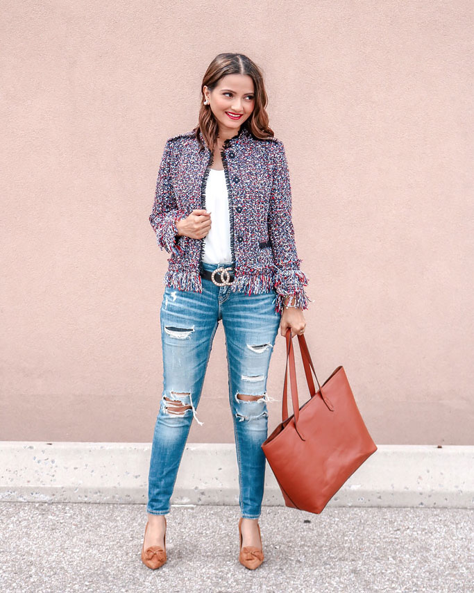 Ann Taylor Tweed Ruffle Jacket Embellished Gucci Dupe Belt Distressed Jeans Blogger Outfit