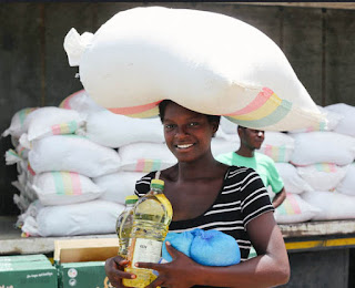 Carrying rice in Mozambique