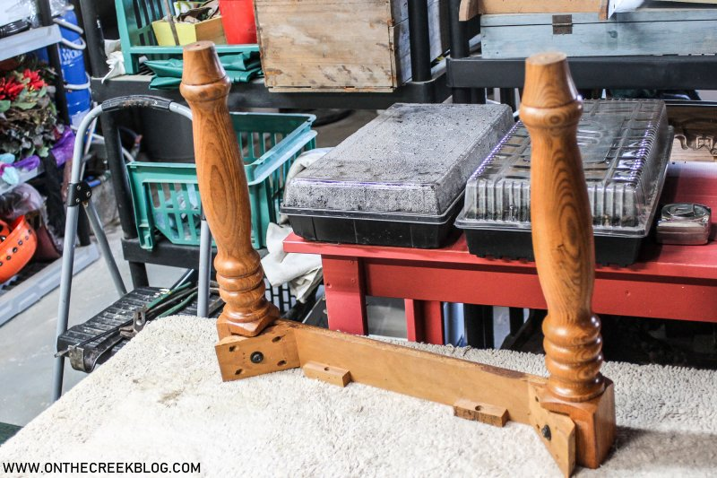 Upcycled dining bench using legs from an old end table | On The Creek Blog