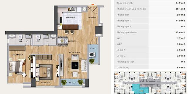 Thiết kế căn hộ 84m2, 2 phòng ngủ, Mon Central