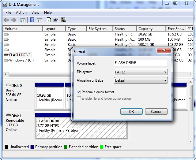 format removable drive as fat32