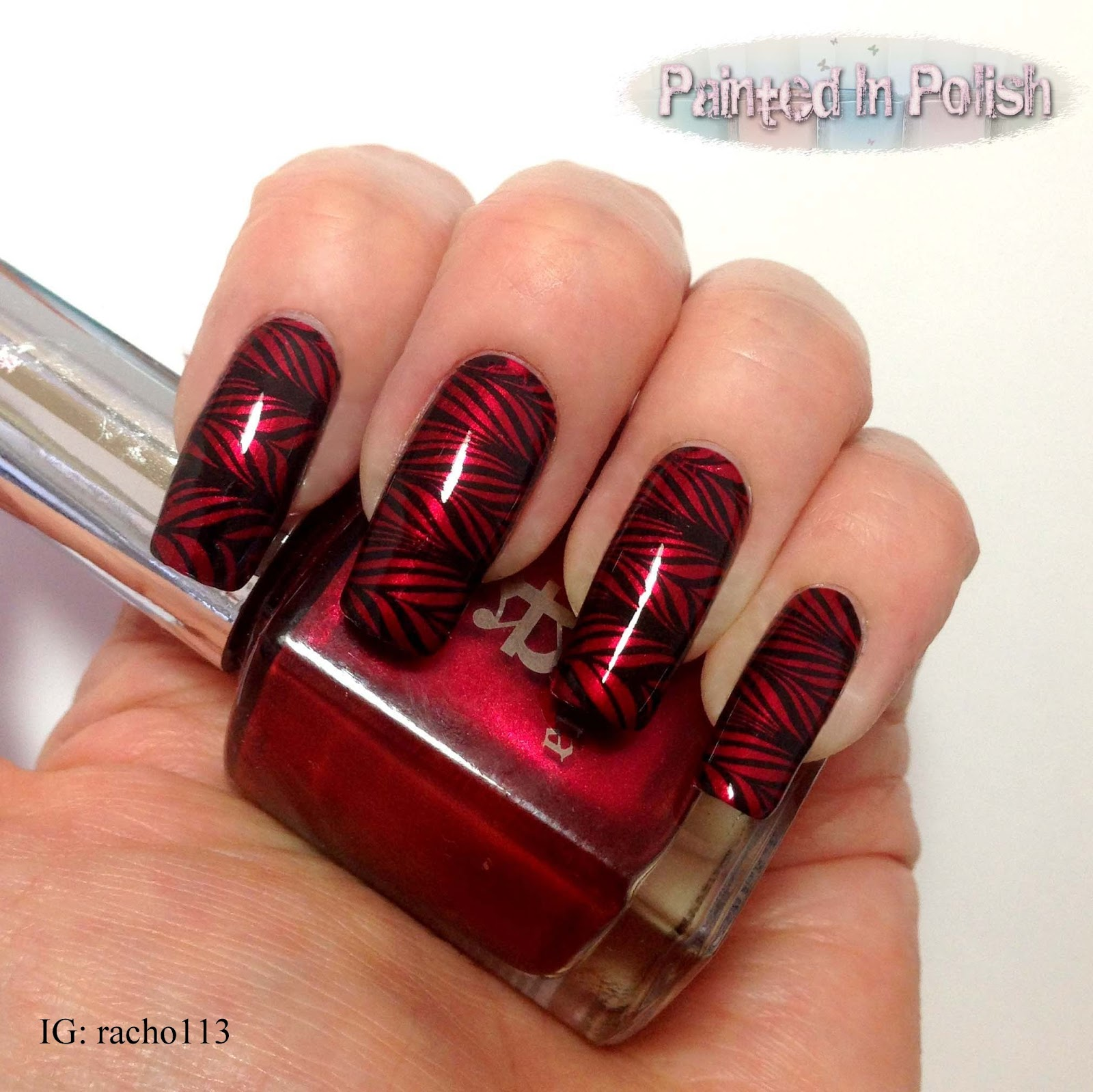 Painted In Polish: Red Marble Effect Nails