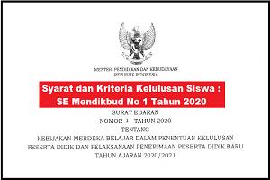Syarat dan Kriteria Kelulusan Siswa : SE Mendikbud No 1 Tahun 2020