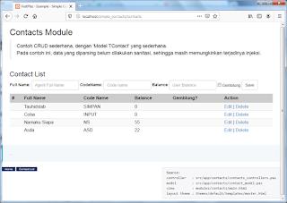 Contoh CRUD Sederhana Menggunakan FastPlaz Web Framework