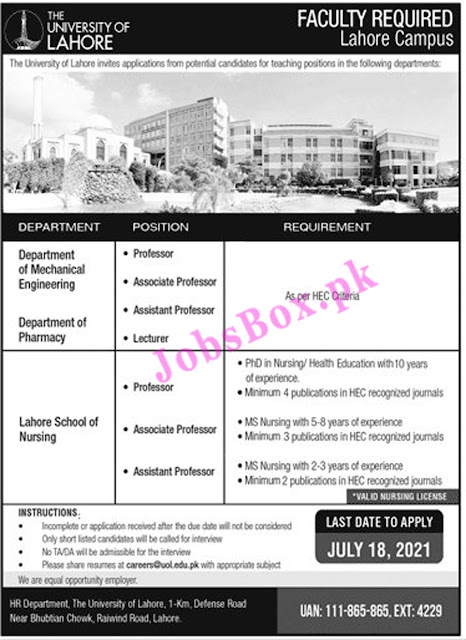 The University of Lahore UOL Jobs 2021 Latest – www.uol.edu.pk