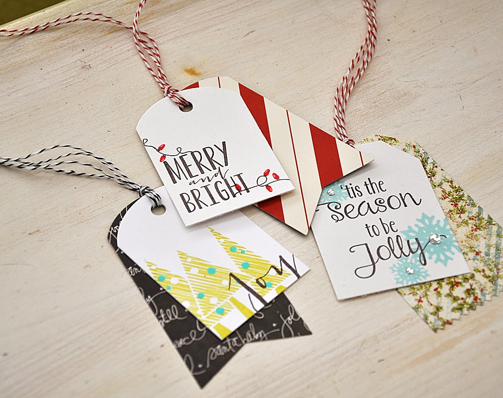 Christmas Tags: Simply Stamped: Pattern Paper Layered Christmas Tags