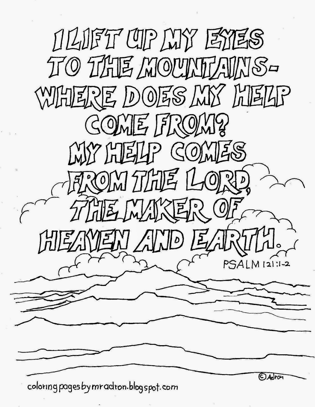 Coloring Pages For Kids By Mr Adron Psalm 121 1 2 Printable Coloring Page