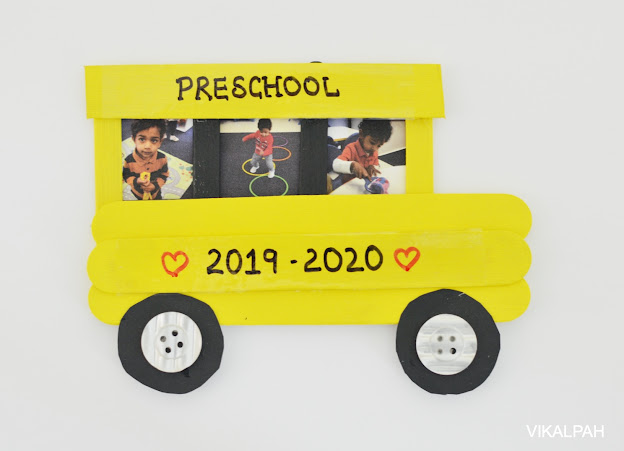 photo frame like school bus using craft sticks to display back to school pictures