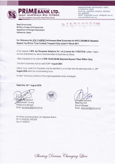 Licence of the Manpower Solution Pvt. Ltd.