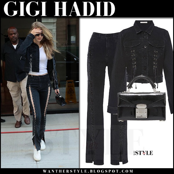 Gigi Hadid in black denim jacket, black, lace up jeans jonathan simkhai and white sneakers with black jason stalvey bag july 20 2017 model style
