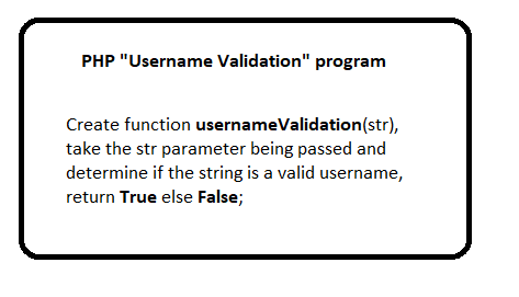 PHP Username Validation program