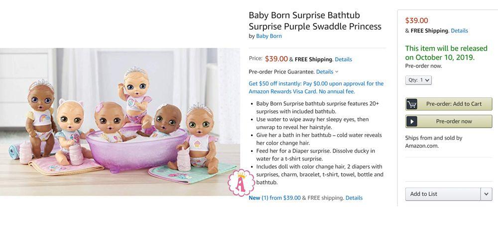 Baby Born Сюрприз большой пупс с ванночкой