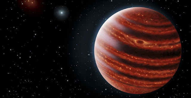 Artist's conception portrays exoplanet 51 Eri b seen in near-infrared light, which shows the hot layers deep in its atmosphere glowing through clouds. (Image credit: Danielle Futselaar and Franck Marchis, SETI Institute)