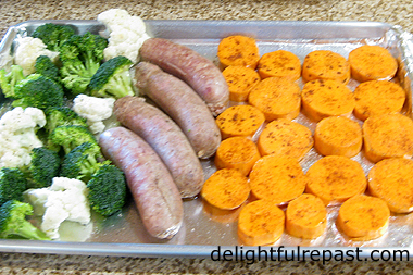 Sheet Pan Bratwurst Dinner (this photo - ready to go into the oven) / www.delightfulrepast.com