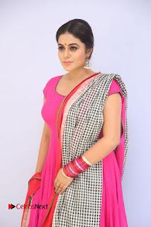 Actress Poorna Pictures in Red Salwar Kameez at Jayammu Nischayammu Raa Teaser Launch  0005