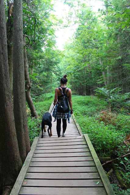 Outdoor fashion, what to wear hiking, plaid shirt, hm shirt, leather back pack, sporty chic, hiking in Ontario, fall layering