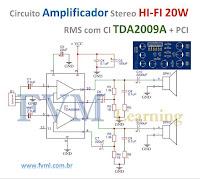 Circuito Amplificador Stereo HI-FI 20W RMS com CI TDA2009A + PCI