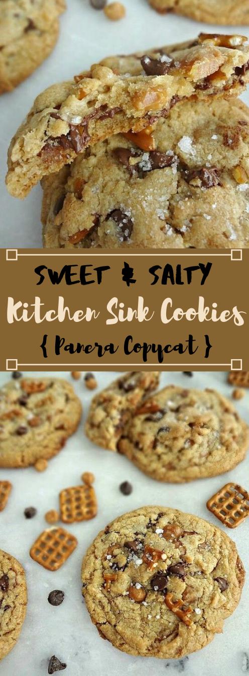 Sweet & Salty Kitchen Sink Cookies #desserts #easy #cookies #bars #snack