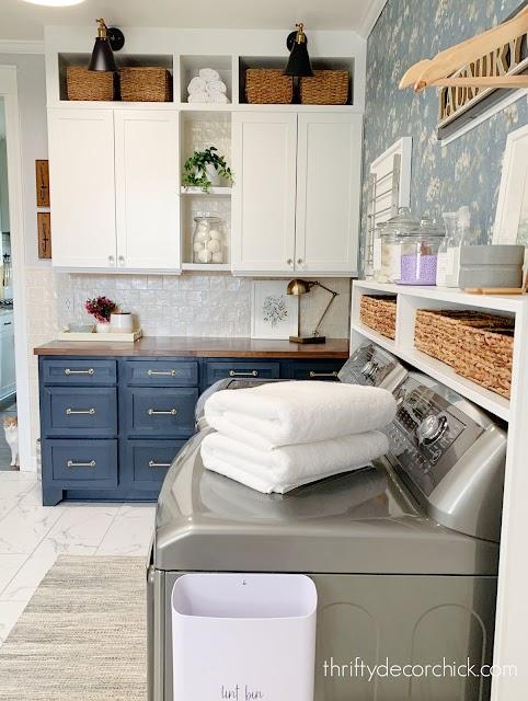 adding pretty storage to laundry room