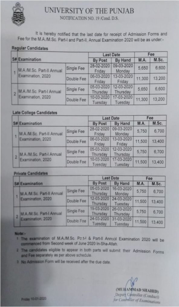 """Punjab University""MA M.sc Admission Schedule 2020 Annual Exams"""