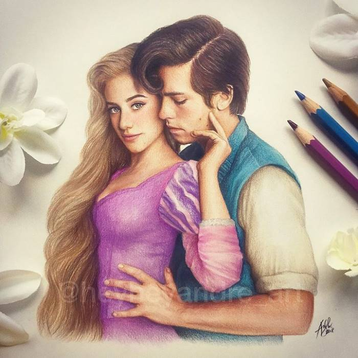 Lili Reinhart and Cole Sprouse as Rapunzel and Flynn Rider