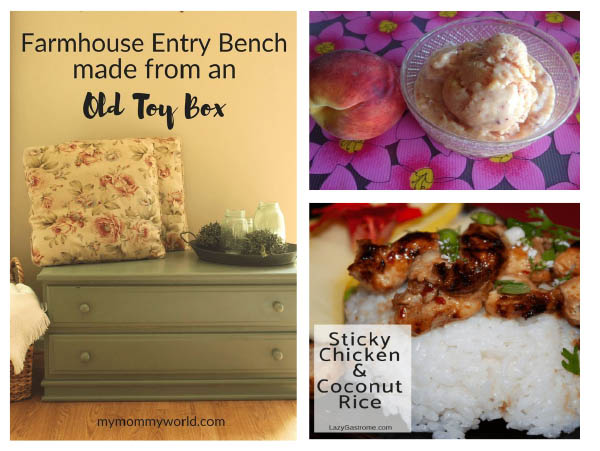 featured links in UPP 210 toy box makeover peach frozen yogurt sticky chicken and coconut rice